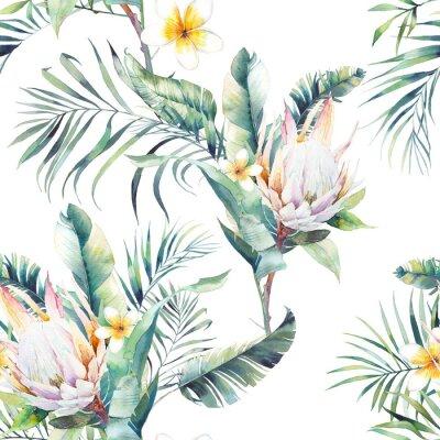 Carta da parati Acquerello esotico modello senza soluzione di continuità. Ripetendo texture con piante, bouquet tropicale: rami di palma, protea, foglie di banana, fiore di frangipane. Design estate carta da parati