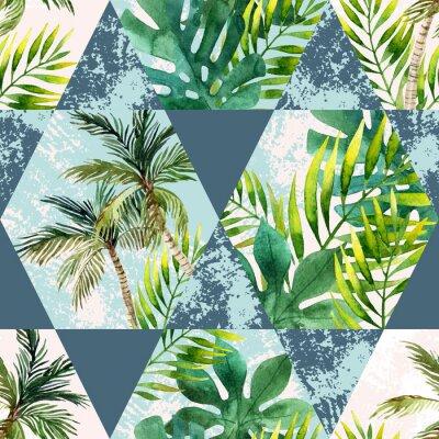 Carta Da Parati Palme.Acquerello Foglie Tropicali E Palme In Forme Geometriche Senza Carta