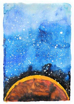 Carta da parati Acquerello galassia illustrazione. Pianeta Marte.