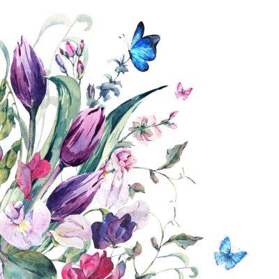 Carta da parati Acquerello Greeting Card con piselli dolci, tulipani