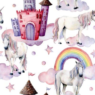 Carta da parati Acquerello modello fiaba con unicorni. Dipinto a mano cavalli magici, castello, arcobaleno, nuvole, stelle isolato su sfondo bianco. Carta da parati carina per design, stampa o sfondo.