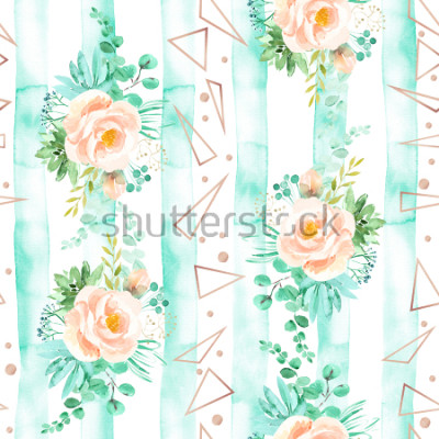 Carta da parati Acquerello motivo floreale senza soluzione di continuità in tenui colori rosa menta. Sfondo geometrico con mazzi di fiori. Rosa, succulente, foglie di eucalipto, oro rosa, illustrazione