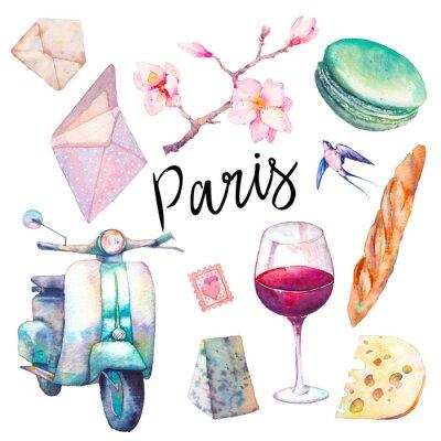 Carta da parati Acquerello Parigi impostato. Elementi disegnati a mano di cultura francese isolato su sfondo bianco: scooter d'epoca, maccheroni, formaggio, bicchiere di vino rosso, magnolia brach, baguette.