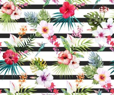 Carta da parati Acquerello tropicale motivo floreale