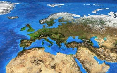 Carta da parati Ad alta risoluzione mappa del mondo focalizzata sull'Europa