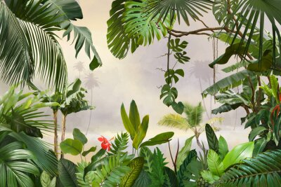 Carta da parati adorable background design with tropical palm and banana leaves, can be used as background, wallpaper