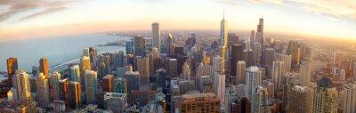 Carta da parati Aerial panorama di Chicago al tramonto, IL, Stati Uniti d'America