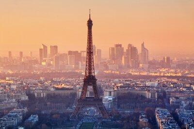 Carta da parati Aerial view of Paris at sunset