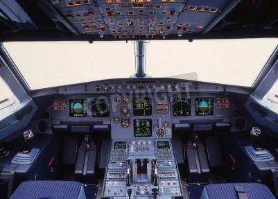 Carta da parati aeroplano cabina di pilotaggio di un aereo passeggeri moderno