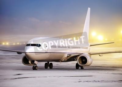 Carta da parati aeroporto e il piano bianco a non-flying meteo, orario invernale
