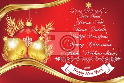 Buon Natale In Inglese.Affari Anno Nuovo Biglietto Di Auguri In Molte Lingue Buon Natale