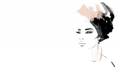 Carta da parati African American illustration for fashion banner. Trendy woman model background. Afro hair style girl