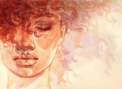Carta da parati african american woman. illustration. watercolor painting