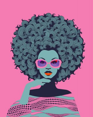 Carta da parati Afro American woman art portrait with pink sunglasses. Mid century modern retro style. Eps10 vector