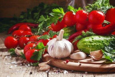 Carta da parati aglio fresco, pomodorini, cetrioli, peperoncino, prezzemolo, di