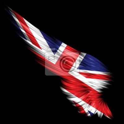 Ala Astratta Con La Bandiera Del Regno Unito Su Sfondo Nero Carta Da