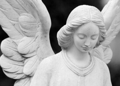 Carta da parati alato angelico statua dettaglio del volto e le ali