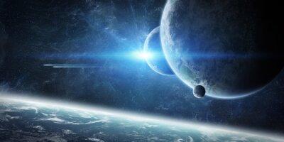 Carta da parati Alba sul pianeta Terra nello spazio