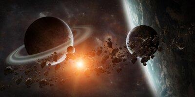 Carta da parati Alba sul sistema pianeta lontano in elemento di rappresentazione spazio 3D