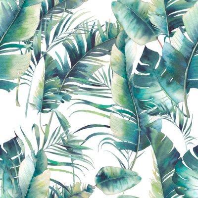 Carta da parati Albero di palma e banana di estate seamless pattern. Struttura di acquerello con i rami verdi su priorità bassa bianca. Disegno a mano disegnata carta da parati tropicale