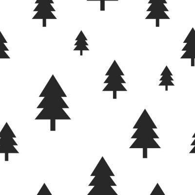 Carta da parati albero foresta nera scandinavo su bianco vector seamless. Design semplice e di tendenza per prodotti tessili, carta dell'involucro, stampe.