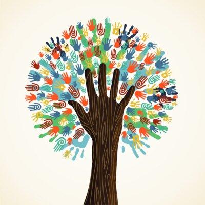 Carta da parati Albero isolato diversità mani