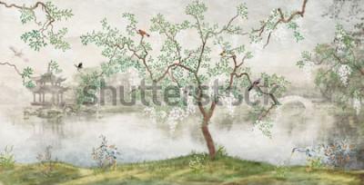 Carta da parati Albero sul lago. Paesaggio nebbioso. Albero con gli uccelli nel giardino giapponese. il murale, carta da parati per la stampa di interni