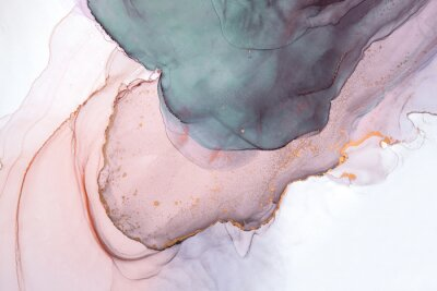 Carta da parati Alcohol ink sea texture. Contemporary art. Abstract art background. Multicolored bright texture. Fragment of artwork. Modern art. Inspired by the sky, as well as steam and smoke. Trendy wallpaper.