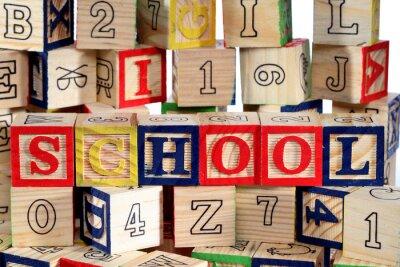 Carta da parati Alfabeto blocchi di legno