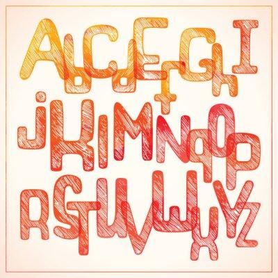 Carta da parati alfabeto di scrittura a mano rosso