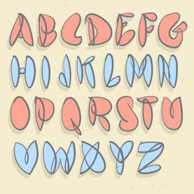 Carta da parati Alfabeto disegnato a mano. Mano spazzolato non forzata Bolla alfabeto.