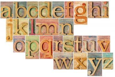 Carta da parati alfabeto in legno di tipo tipografica