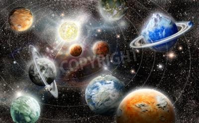 Carta da parati alieno sistema pianeta stelle nello spazio