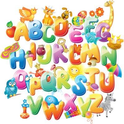 Carta da parati Alphabet for kids with pictures