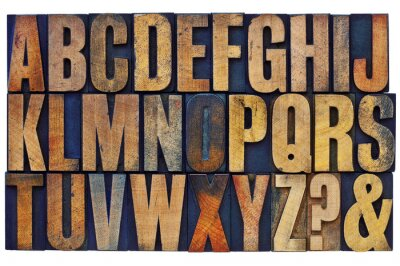 Carta da parati alphabet in letterpress wood type blocks