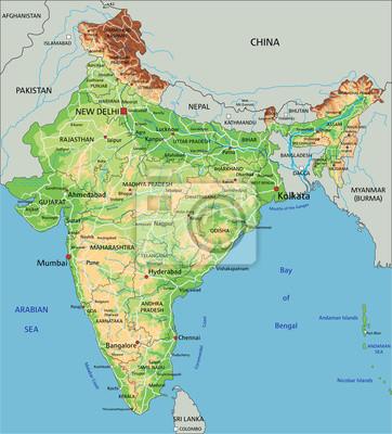 India Politica Cartina.Alta Dettagliata Mappa Fisica In India Con Letichettatura Carta Da Parati Carte Da Parati Bombay Delhi Himalaya Myloview It