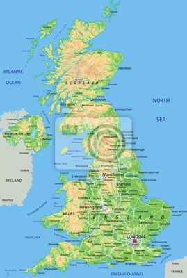 Cartina Gran Bretagna Fisica.Alta Dettagliata Mappa Fisica Regno Unito Con Letichettatura Carta Da Parati Carte Da Parati Mappatura Galles Europa Myloview It