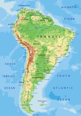 Carta da parati Alta dettagliata mappa fisica Sud America con l'etichettatura.