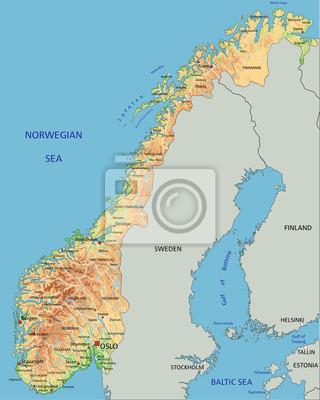 La Norvegia Cartina.Alta Mappa Dettagliata Della Norvegia Con Etichettatura Carta Da Parati Carte Da Parati Oslo Norvegia Mappatura Myloview It