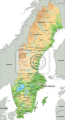 Cartina Della Svezia.Alta Mappa Dettagliata Della Svezia Con Etichettatura Carta Da Parati Carte Da Parati Svedese Stoccolma Mappatura Myloview It