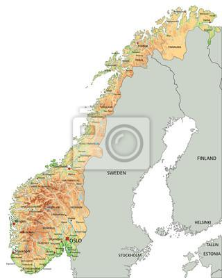 Cartina Norvegia Politica.Alta Mappa Dettagliata Fisica Norvegia Con Etichettatura Carta Da Parati Carte Da Parati Oslo Norvegia Mappatura Myloview It