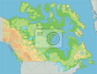 Canada Cartina Fisica.Alta Mappa Fisica Dettagliata Canada Carta Da Parati Carte Da Parati Prossimo Ottawa Mappatura Myloview It
