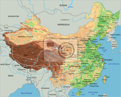 Cartina Geografica Della Cina.Alta Mappa Fisica Dettagliata Della Cina Con Letichettatura Carta Da Parati Carte Da Parati Formosa Yuan Beijing Myloview It