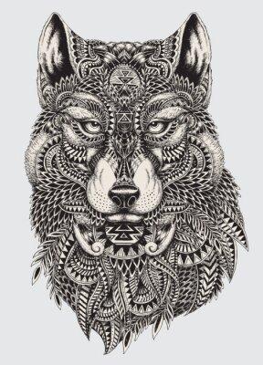 Carta da parati Altamente dettagliata illustrazione astratta lupo