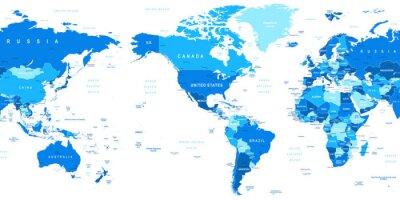 Carta da parati Altamente dettagliata illustrazione vettoriale di mappa del mondo. Immagine contiene l'orografia del terreno, il paese e paese nomi, nomi di città, nomi di oggetti d'acqua.