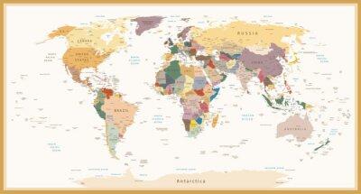 Carta da parati Altamente dettagliata politici colori Mappa del mondo Vintage