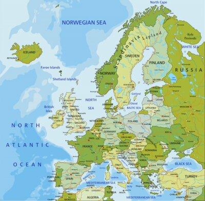Carta da parati Altamente dettagliate modificabile mappa politica. Europa.