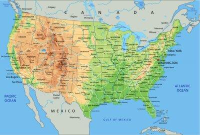 Cartina Geografica Degli Stati Uniti Di America.Altissima Mappa Dettagliata Stati Uniti Damerica Fisico Con Carta Da Parati Carte Da Parati Etichettatura Mappatura Elevazione Myloview It