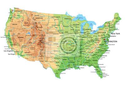 Cartina Fisico Politica Degli Stati Uniti.Altissima Mappa Dettagliata Stati Uniti Damerica Fisico Con Carta Da Parati Carte Da Parati Etichettatura Mappatura Elevazione Myloview It
