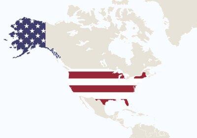 Carta da parati America del Nord, con in evidenza USA map.
